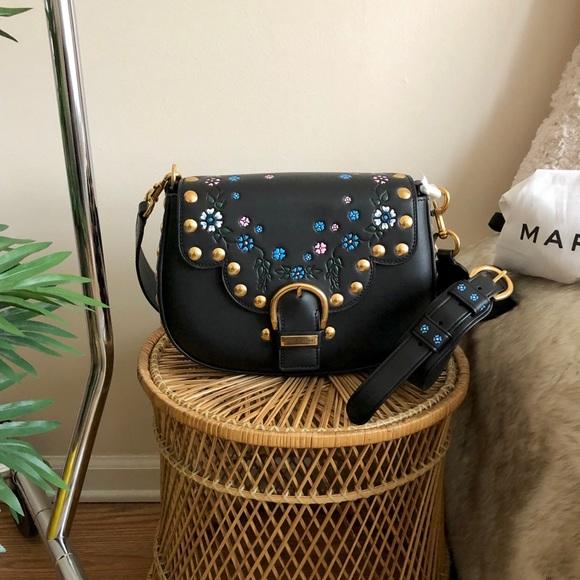 Marc Jacobs Black Floral Studded Leather SaddleBag